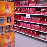 Walmart Merchandising. Valentine's day cards and condoms. Brilliant link selling
