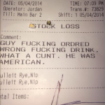 American customer pisses off bartender!!!!