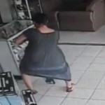 Woman Snatches TV By Putting It Up Her Skirt (VIDEO)
